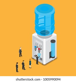 Flat isometric huge water cooler with bottle vector illustration. 3d isometry business micro people stand in line to drink water business concept.