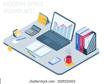 Flat isometric illustration of business workspace. Office workplace with modern technologies equipment and stationery: laptop, mobile phone, calculator, file folder, calendar. Vector work desk concept