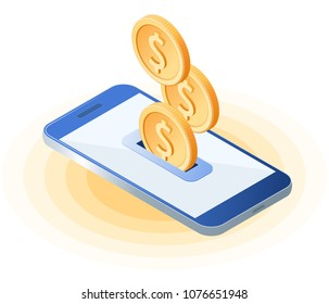 Flat isometric illustration of coins droping into slot at the mobile phone screen. The depositing money into an account, e-commerce, online business vector concept illustration isolated on white.