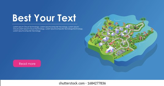 flat isometric illustration design concept location plan and control center