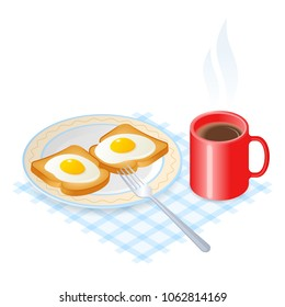 Flat isometric illustration of dish with scrambled eggs on the toasts, a cup of coffee. The fried chicken eggs on a crisp bread on the the plate, a mug of hot coffee. The breakfast vector concept.