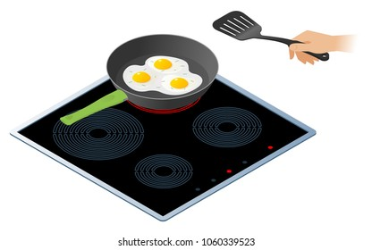 Flat isometric illustration of kitchen electric stove with frying pan. The fried scrambled eggs in the cooking pan and a hand with kitchen slotted spatula. Cookware, cooking, food vector concept.