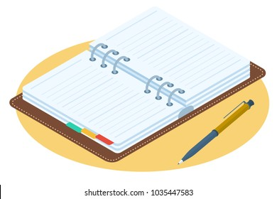 Flat isometric illustration of opened planner. Business workplace personal accessory, supply isolated on white background. Office desktop vector concept: agenda with leather cover and ring binder.