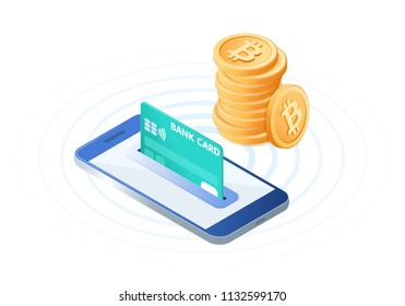 Flat isometric illustration of pile of bitcoins, the phone with a credit card in the slot. The transfer, e-commerce, blockchain, cryptocurrency, business, deposit money into an account vector concept.