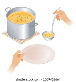 Flat isometric illustration of pot with soup and hands with empty plate and ladle. Steel pan with broth, dish and kitchen utensils isolated on white background. Cooking food, cookware vector concept.