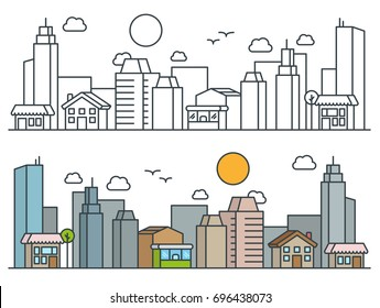 Flat Isometric Line City Street Landscape View Concept with Buildings, Roads, Trees. Editable Stroke. Black and Filled Outline Version. Minimal Icon Illustration.