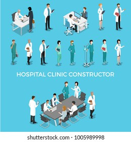 Flat isometric male and female doctors healthcare vector illustration people characters icon set. Health care hospital medical staff in uniform: doctor, nurse. Professional medicine team concept.