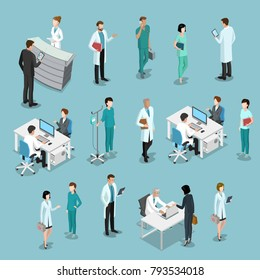 Flat isometric male and female doctors healthcare vector illustration people icon set. Health care hospital medical staff in uniform: doctor, nurse. Professional medicine team concept.