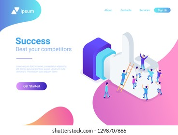 Flat isometric male people crowd climb on huge internet Like sign net vector illustration. Social network 3d isometry promotion concept.