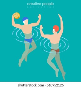 Flat isometric Male water-polo players vector illustration. Team sports 3d isometry concept.