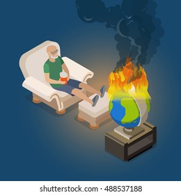 Flat isometric man sitting at home in armchair and watching for burning world globe vector illustration. Global destruction 3d isometry concept. Happy-go-lucky slacker bum.