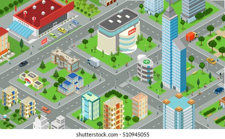 Flat isometric megalopolis blocks infographics with roads and crossroads vector illustration. 3d isometry modern city buildings and architecture collection.