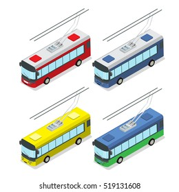 Flat isometric modern city powered Trolley isolated on white background vector illustration set. 3d isometry Delivery service and Passenger Transport concept.