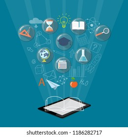 Flat isometric modern design with computer tablet. E-learning, e-book, online education, home education concept with school icons under magnifying glasses, hand drawn symbols. 3d illustration eps 10