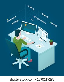 Flat isometric office designer workspace concept vector. Laptop, smart phone, tablet, player, desktop computer, headphones, devices set.