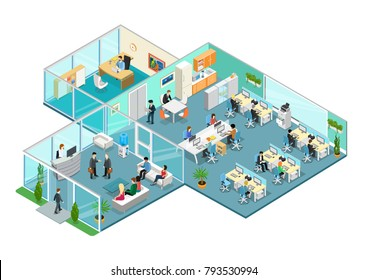 Flat isometric office interior vector illustration. 3d isometry business concept. Working business people characters at workplace, reception, head shelf, managers. Rooms with furniture.