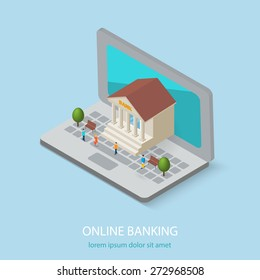 Flat isometric online or internet banking concepts. 3D bank building is on laptop computer,  isolated. Tiny people are coming there, vector illustration
