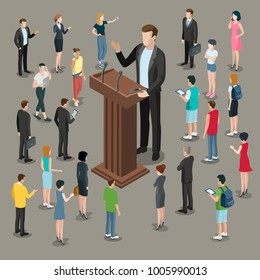 Flat isometric politician or business microphone speech vector illustration. 3d isometry businessman speaker on presentation podium. Crowd group of male and female casual people around listen