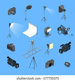 Flat isometric professional photo studio lighting equipment and camera vector illustration set. 3d isometry creative photostudio concept.
