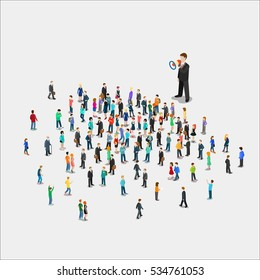 Flat isometric Promoter with loudspeaker talking to micro people vector illustration. 3d isometry promotion business concept.