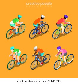 Flat isometric Racing Cyclist vector illustration. Group Bicycle Athletes 3d isometry image. Summer international competition concept.