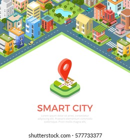Flat isometric residential quarter, Smart city app infographics template vector illustration. 3d isometry Mobile application concept.