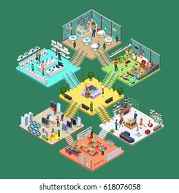 Flat isometric Shopping mall interior vector illustration. Cell infographics template. 3d isometry leisure and purchases concept. Shelves, goods, personal, consultant and customers characters.
