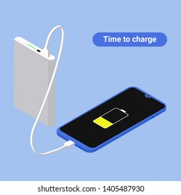 Flat isometric Smartphone connection with power bank via USB cable. Vector 3d illustration. Isometry phone charging and power bank concept.