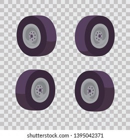 flat isometric style, set the wheels for the car at different angles with a shadow, good tires, vector illustration