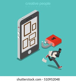 Flat isometric thief in mask running out with photo stolen from smartphone with empty frames, broken padlock vector illustration. 3d isometry Mobile security, privacy concept.
