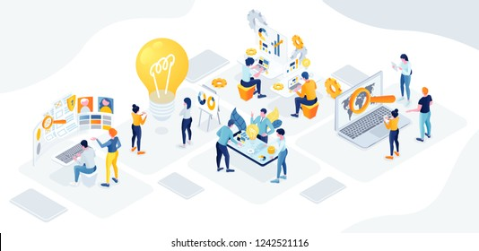 flat isometric vector business illustration. The office of a large company is divided into creative departments, analysts, development, protection, management. vector people cohesive teamwork in the o