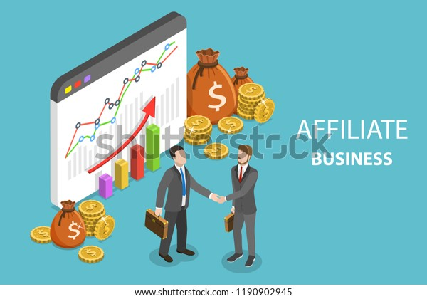 Flat isometric vector concept of affiliate business, marketing strategy, referral program, partnership.