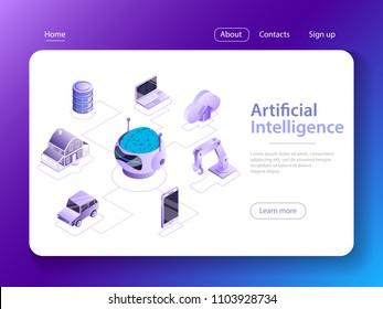 Flat isometric vector concept of artificial intelligence, big data, cyber mind, machine learning, digital brain, cyberbrain.