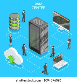 Flat isometric vector concept of data center, cloud storage, secure server database, hosting, file service.