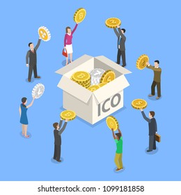 Flat isometric vector concept of initial coin offering, ICO token, crowdfunding, blockchain, digital money startup.