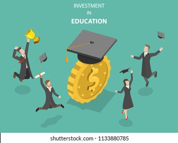 Flat isometric vector concept of investment in education, money savings for study.