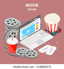 Flat isometric vector concept of mobile movie, online home cinema.