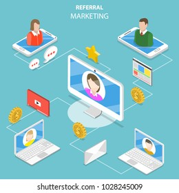 Flat isometric vector concept of network and affiliate marketing, referral program strategy, business partnership.
