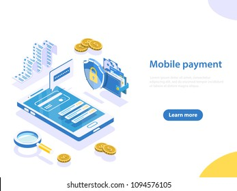 Flat isometric vector concept of online payment, shopping, receipt, money transfer, mobile wallet.
