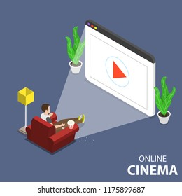 Flat isometric vector concept of online home theatre, mobile movie.