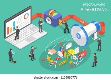 Flat isometric vector concept of programmatic advertising, social media campaign.