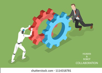Flat isometric vector concept of robot and human collaboration, artificial intelligence, business automation.