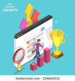 Flat isometric vector concept of seo ranking growth, web analytics, website optimization marketing.