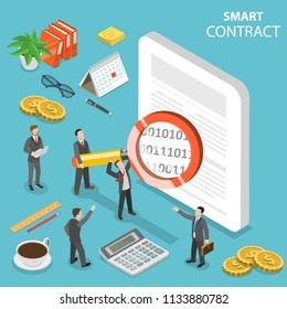 Flat isometric vector concept of smart contract, online business, cryptocurrency.