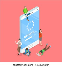 Flat isometric vector concept of smartphone app update, loading process, system upgrade.