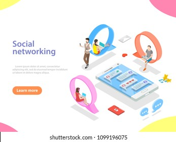 Flat isometric vector concept of social media network, digital communication, chatting.