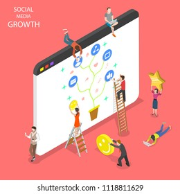 Flat isometric vector concept of social media growth, networking, chatting.