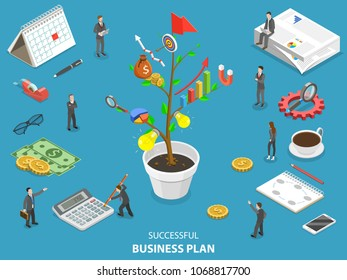 Flat isometric vector concept of succesfull business plan, project management and strategy