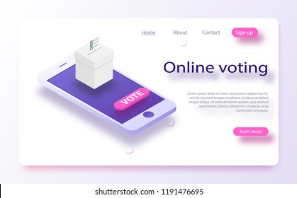 Flat isometric vector concept voting online, e-voting, election internet system. Concept of online choices with box and bulletins on smartphone screen.