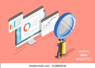 Flat isometric vector concept of website data analysis, web analytics, SEO audit report, marketing strategy.